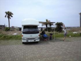 夷隅川河口でデイキャンプ